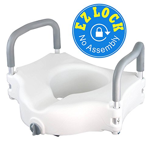 Medical Elevated Raised Toilet Seat & Commode Riser With Removable Handles and Locking Mechanism, White - Edge Round Bowl