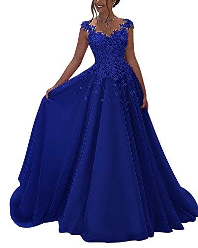 Lubridal Elegant V Neck Lace Appliques Floor Length Tulle Prom