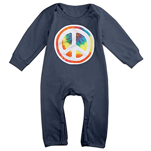 Mri-le1 Baby Boy Girl Long Sleeved Coveralls Rainbow Tie Dye Peace Baby Rompers