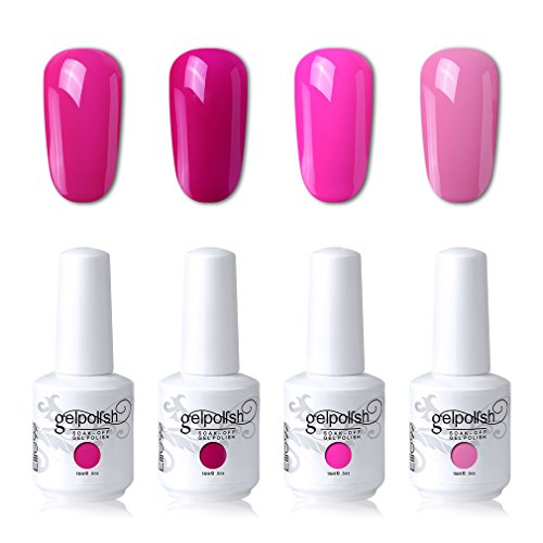 Elite99 Soak Off Gel Polish Lacquer UV LED Nail Art Manicure Kit 4 Colors Set LM-C129 + Free Gift (20pcs Gel Remover Wraps)