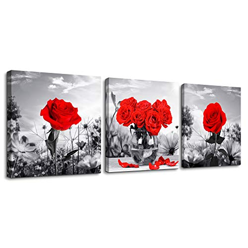 - Canvas Wall Art for Bedroom Black and White Landscape red Rose Flowers Bathroom Wall Decor Canvas Prints Watercolor 12