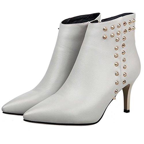 Aiyoumei Womens Bout Pointu Talon Mince Bottines Dhiver Bottines Avec Rivets Robe Chaussures Gris