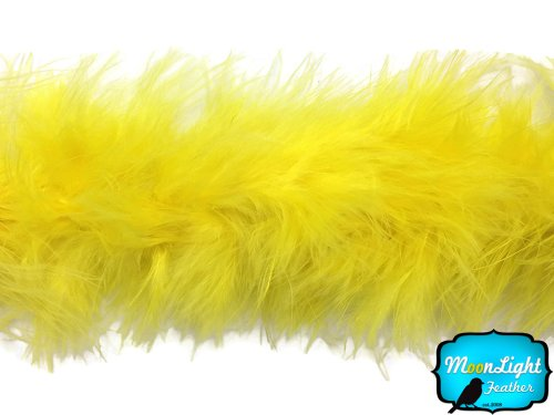 Moonlight Feather | 2 Yards - Yellow Turkey Medium Weight Marabou Feather Boa, 25 grams for Halloween, Costume, Party and More (Turkeys Moonlight In The)