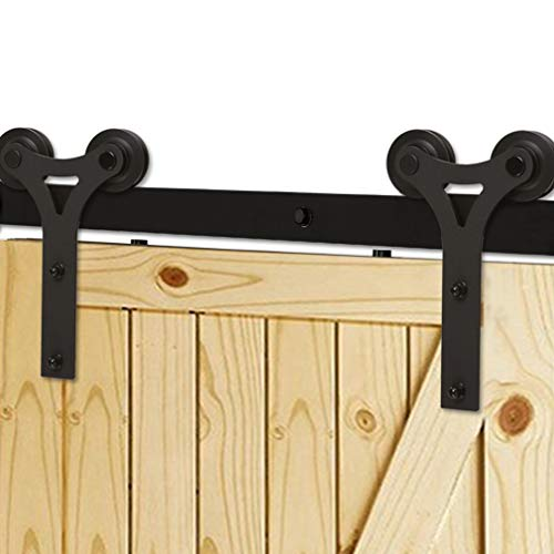 CCJH 19FT Heavy Duty Sliding Barn Wood Door Hardware Track Kit - Smoothly and Stable - Easy Installation - 19 Foot Rail Double Door Kit (Y Shaped Hangers)