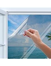 Rhodesy Pellicola Specchio da Finestra Riflettente Monodirezionale Argentata, Homegoo Blocco Sole per Calore Anti-UV, Adesivo Oscurante da Vetro per Protezione Privacy