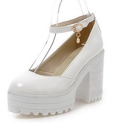 Damen Rund Zehe Hoher Absatz Weiches Material Rein Schnalle Pumps Schuhe, Weiß, 40 VogueZone009