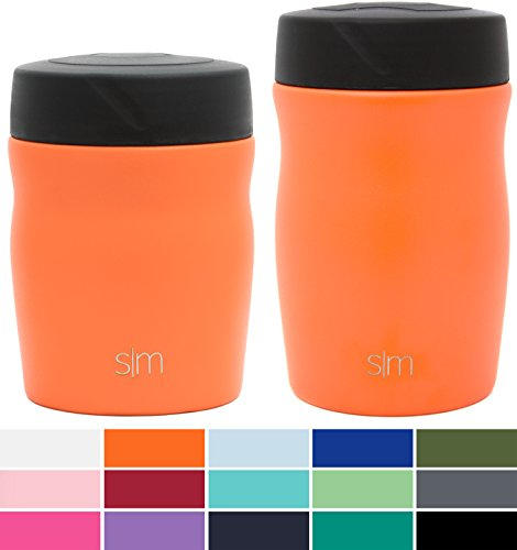 Simple Modern 16oz Rover Food Jar - Vacuum Instulated 18/8 Stainless Steel Leak Proof Food Storage Container - Hydro Thermos Flask - Autumn Orange