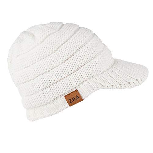 (AMSKY Hat for Baby Boy 6-12 Months,Adult Women Men Winter Crochet Hat Knit Hat Warm Baseball Cap,Women's Socks & Hosiery,White,One Size)