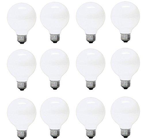 GE Lighting 14848 Soft White 60 Watt Frosted G25 Light Bulb- Edison Base A19, 12-Pack