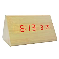Triangle Alarm Clock LED Wooden Digital Electronic Desktop Travel Home Bedroom Bedside Clocks for Kids with Sound Control Function (5.91x3.15x3.55, Bamboo Wood Red Light)