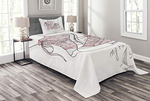Lunarable Cute Bedspread Set Twin Size, Shoes Floral Pattern Teenage Girls Sneakers Flowers Birds Retro Urban, Decorative Quilted 2 Piece Coverlet Set Pillow Sham, Dried Rose White