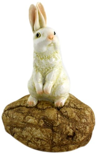 Top Collection Enchanted Story Garden Rabbit Standing on Stone Outdoor Decor