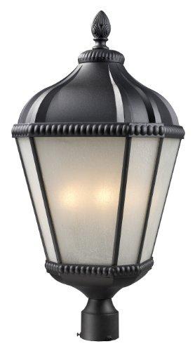 UPC 685659011685, Z-Lite 513PHB-BK Waverly Outdoor Post Light, Aluminum Frame, Black Finish and White Seedy Shade of Glass Material