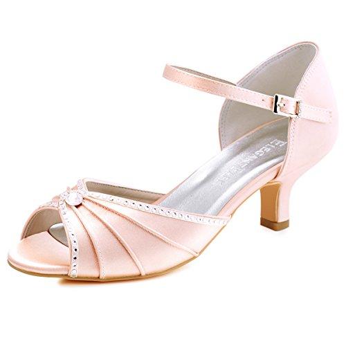 ElegantPark HP1623 Women's Sandals Peep Toe Mid Heel Pumps Pleated Rhinestones Satin Evening Wedding Party Shoes Blush US 7