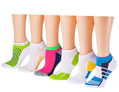 Tipi Toe Women's 6-Pack No Show Athletic Socks, Sock Size 9-