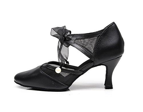 Moderno Salsa Samba Para Latin Altos Correa De JSHOE Jazz Zapatos 5cm Tango Our34 Para Tacones Baile De Chacha Mujer heeled7 UK3 Cuero EU33 Sandalias Black Salón vxYZwX6wq