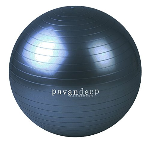 2000lbs Exercise Stability Ball By Pavandeep Anti Burst Perfect for Pilates Yoga Gym Fitness Fitballing | Use As Desk Chair | Pump Included 75cm Phthalate FREE (Therapy Ball Chair)