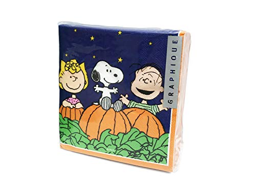 (Charlie Brown & The Great Pumpkin 40 Pack 3 Ply Novelty Halloween Paper Cocktail Beverage Drink Party Napkins)
