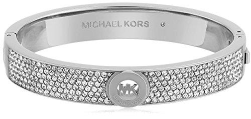 (Michael Kors Silver Tone Pave Fulton Hinge Bangle Bracelet)