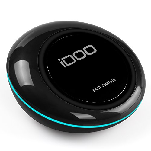 iDOO Qi Fast Wireless Charger Pad with LED Light for Galaxy S7, S7 Edge, Note5 and Standard for All Qi Enabled Phones [Fast Adaptor NOT Included]