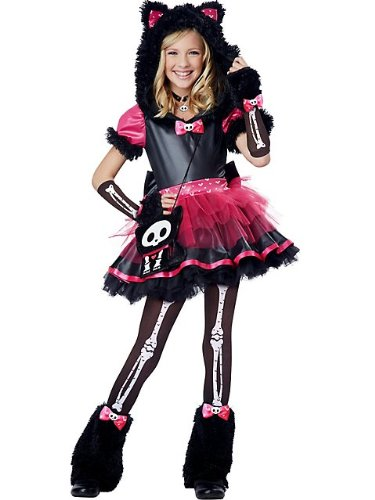 Girls Sassy Cat Animal Costumes (California Costumes Kit The Cat Deluxe Tween Costume, Medium)