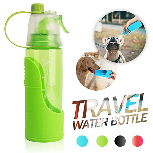 Dog Travel Water Bottle for Walking, 3-in-1 Pet Water Dispenser with Removable Portable Travel Dog Bowl - Cooling Mist Spray Outdoor Hiking for Human & Dogs (Dog Mist)