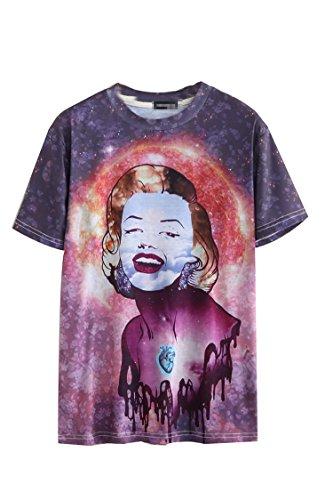 Pink Queen Unisex 3D Marilyn Monroe Print Crewneck Tee Shirts(XXL)