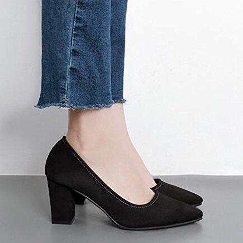 Easemax Femmes Élégant Faux Suede Bout Pointu Bas Haut Talon Chunky Pompes Noires Chaussures