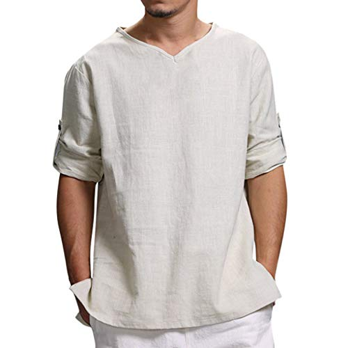 Mens Blouse Pure Cotton and Hemp Top Blouse Top Large Size Solid Color Tops