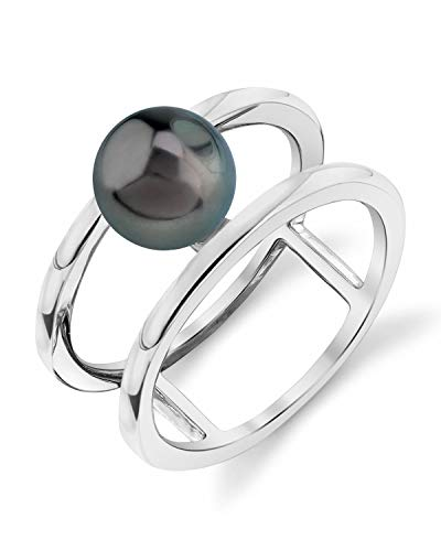 (THE PEARL SOURCE 8-9mm Genuine Black Tahitian South Sea Cultured Pearl Ora Ring for Women)