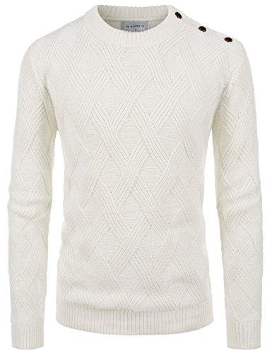 Blend Jacket Ivory Wool (NEARKIN (NKNKKNB704) Roundneck Fisherman Knitted Wool Blend Long Sleeve Sweater IVORY US M(Tag size M))