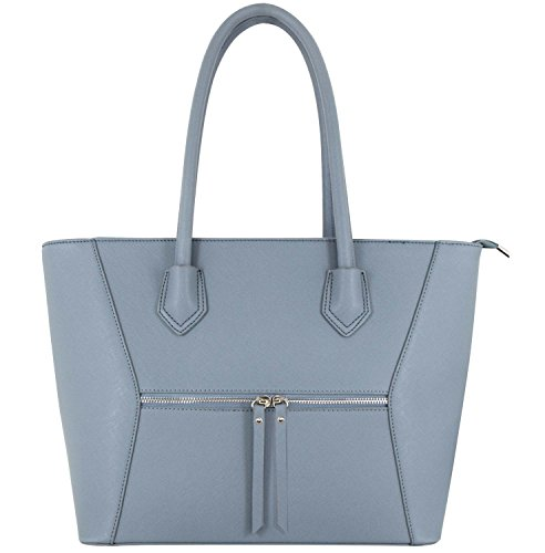 Leather Melissa Blue Women Handbag Bag PU Shopping A4 amp; Study Work Shopper Vanessa 7qwU5YU