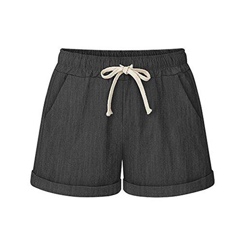 (Women's Drawstring Elastic Waist Casual Comfy Cotton Linen Beach Shorts Denim Black Tag L-US 6-8)