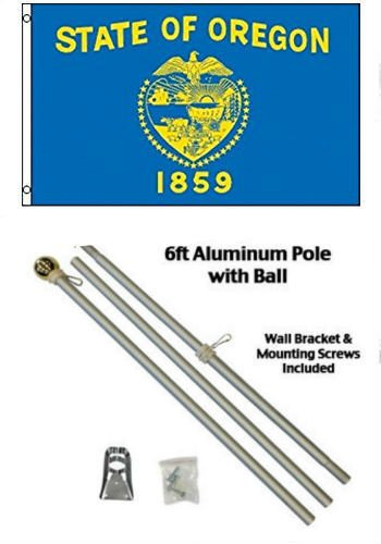 (ALBATROS 3 ft x 5 ft State of Oregon Flag Aluminum with Pole Kit Gold Ball Top for Home and Parades, Official Party, All Weather Indoors Outdoors)