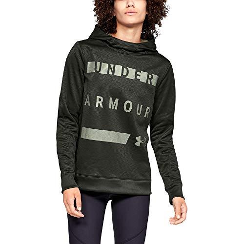 Under Armour Women's Synthetic Word Mark Fleece Pullover, Artillery Green (357)/Grove Green, Medium