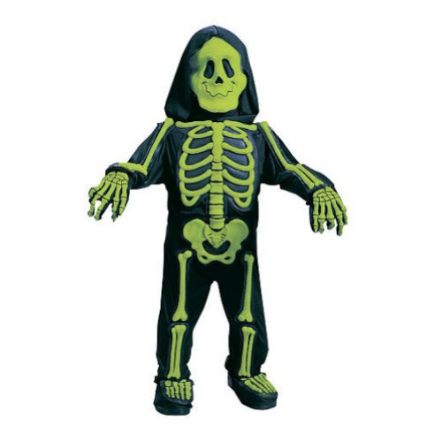 Skelebones Toddler Costume (Fun World Toddler & Boys Green Skelebones Costume 3D Skeleton Jumpsuit 3T-4T)