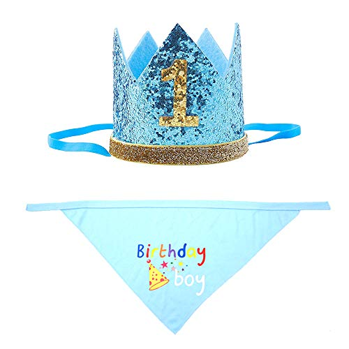 Petsidea Cute Puppy Birthday Bandana Set Dog Birthday Scarf and Crown Hat for Puppy Cat 1st Dog Gotcha Day Gift Photo Prop (Blue Set)