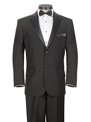 Double Peak Breasted Jacket Tuxedo (House of St. Benets Modern Fit Tuxedo - Black, 44 Long)