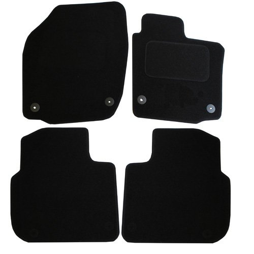 JVL Fully Tailored Car Mats with 4 Clips Black 4 Pieces