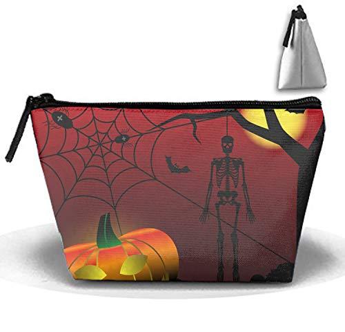 Travel Makeup Halloween Scary Skeleton Cosmetic Bag Hanging Storage Brush Organizer