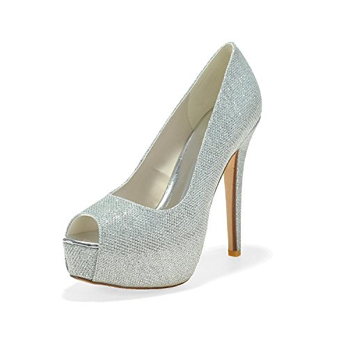 Heels Women's Evening Pink amp; High 30 White Leatherette Peep L With Fine E3128 YC Shoes Toe Party tfWqfXU
