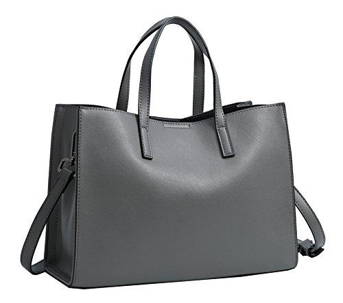 Leather Satchel Handle Women Crossbody Handbags Tote Top Dark Heshe Shoulder Grey Bag Purse Bags n6HzZw