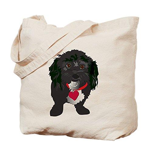 CafePress–negro perro–Gamuza de bolsa de lona bolsa, bolsa de la compra Small caqui