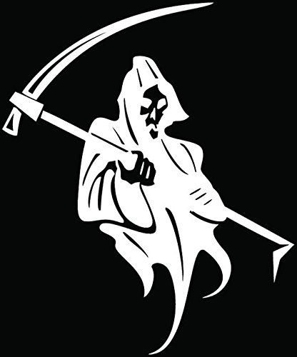 Grim Reaper Death Skull Car Truck Window Bumper Vinyl Graphic Decal Sticker- (6 inch) / (15 cm) Tall GLOSS WHITE Color