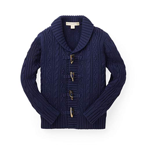 Hope & Henry Boys Navy Shawl Collar Cable ()