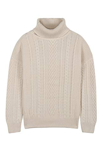 Pink Queen Women's 100% Cotton Turtlenck Aran Cable Knit Pullover Sweater Apricot - Pull Cable Knit