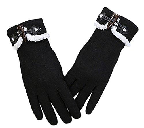 Youchan(ヨウチャン) レディース 手袋 グローブ ボア ボタン スマホ対応 防寒 学生 キュート 上品 冬