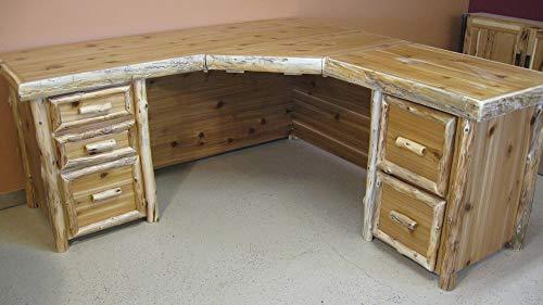 Cedar Log Executive Corner Desk with Keyboard Drawer