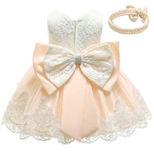 KILO&METERS Formal Prom Summer Wedding Girls Dresses A-line Sleeveless Knee Length Tutu Ruffle Kids Dress Princess Christeing Birthday Party Baby Dress 6M Champagne