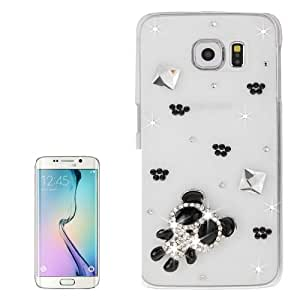 Transparent Diamond Encrusted Little Bear Pattern Protective Case Cover Carcasa Para Samsung Galaxy S6 Edge G925% 2F